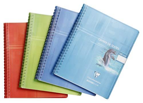 Clairefontaine 152438C - Un cahier de texte à spirale Koverbook 148 pages 17x22cm 90g grands carreaux, couverture polypro (plastique) enveloppante, couleur aléatoire