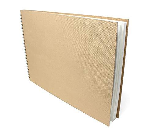 Artway Enviro - Bloc Encuadernado con gusanillo - Papel Cartridge 100% Reciclado - Tapas de aglomerado - 170 gsm - 35 Hojas - 1 x Apaisado A3