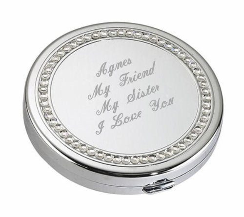 Personalized Silver Crystal Compact Mirror Engraved Free