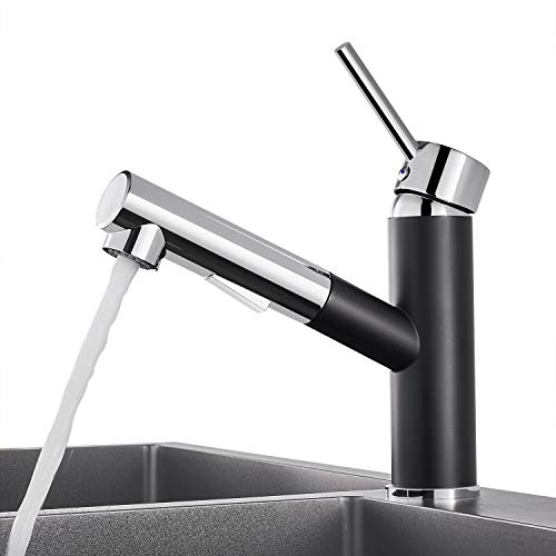 WOOHSE Küchenarmatur mit Ausziehbarer Schlauchbrause   Mischbatterie Küche   Einhebelmischer   Schwarz/Chrom