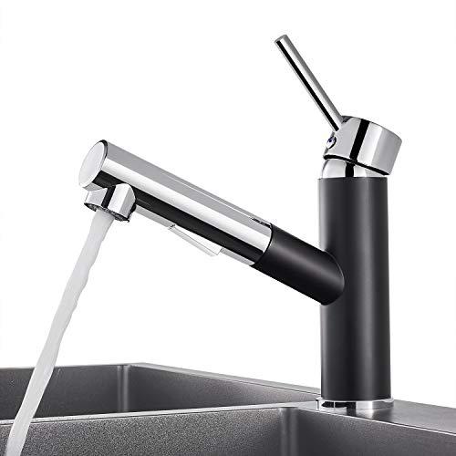 WOOHSE Küchenarmatur mit Ausziehbarer Schlauchbrause | Mischbatterie Küche | Einhebelmischer | Schwarz/Chrom