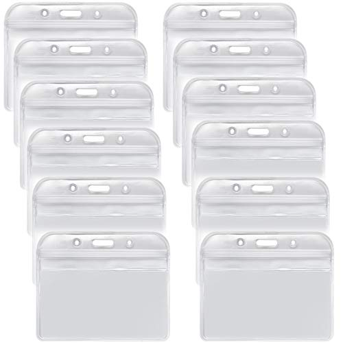 YOUOWO 12 PACK Badge Holder ID card holders Badge Holder is 3.2 x 3.85 inches, fits 2.3 x 3.5 nametag insert.Waterproof Horizontal Name Tags Punched Zipper Resealable Clear Plastic Labels Credit Cards