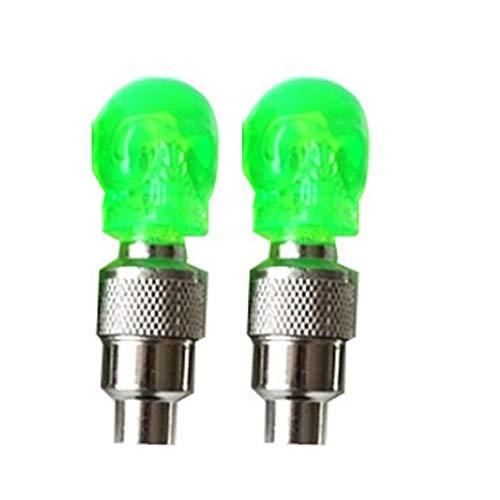 2pcs / lot de la forma del cráneo de Multifuction del bulbo de la bici luz del casquillo de válvula del neumático de motocicleta de la bicicleta de rueda de coche de la lámpara de neón del LED