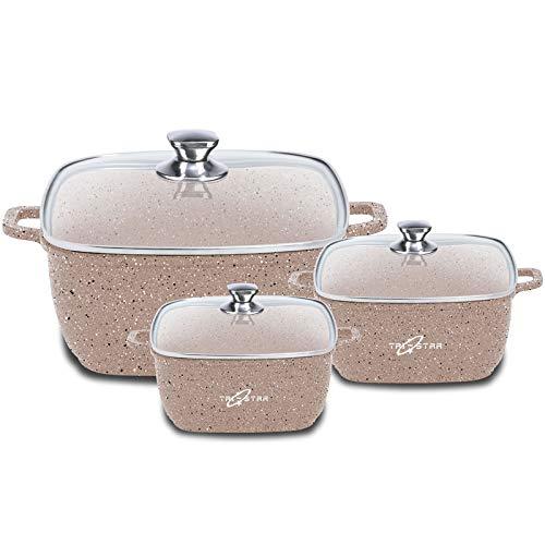 Tri-Star Supreme Lot de 6 cocottes carrées anti-adhésives avec revêtement en marbre (compatible avec toutes les plaques de cuisson, y compris l'induction) (Blanc)