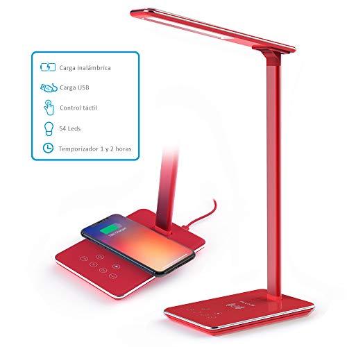 FLUX'S - Lámpara Escritorio LED con Carga Inalámbrica Wireless y Puerto USB, Flexo de Lectura con 4 Modos y 10 Niveles de Brillo, Control Táctil Regulable y Temporizador, Bajo Consumo (Rojo)