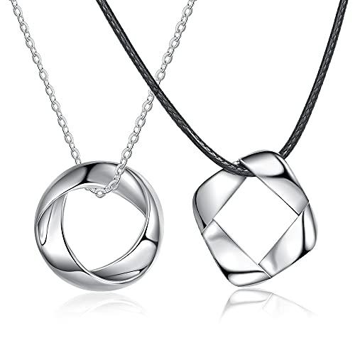 CusGifta Collar de anillo para parejas, infinito, con colgante de amor eterno, regalo para cumpleaños, boda, San Valentín, aniversario, promesa