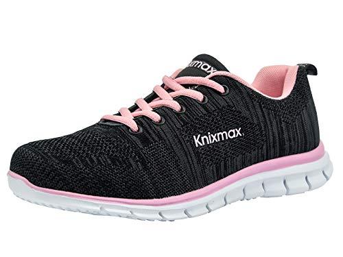 Knixmax Herren Damen Laufschuhe Sneaker Leicht Bequem Atmungsaktiv Sportschuhe Turnschuhe Outdoor Fitnessschuhe Knit Schwarz-Pink Damen Gr.41 EU