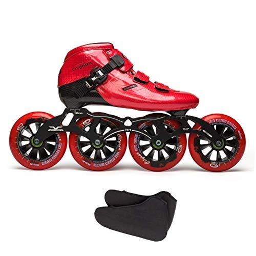 Taoke Berufswettbewerb Inline Skates, Männer und Frauen Red Eisschnelllauf Schuhe, Carbon-Faser-Quad Blau Roller Skates (Farbe: Rot, Größe: EU 38 / US 6 / UK 5 / JP 24cm) dongdong
