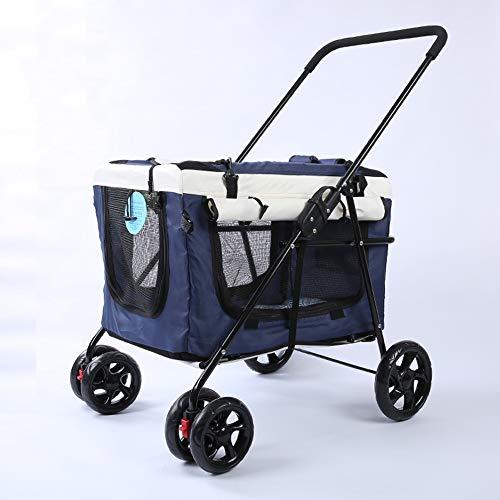 Huisdier wandelwagen hond kat wandelwagen outdoor auto wandelwagen licht draagbare vouwfiets tas gescheiden Blauw