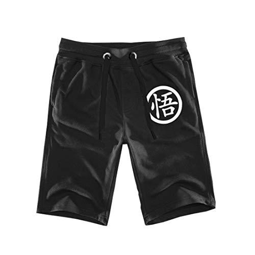 Geek Gear Dragon Ball Z Men Shorts Kanji Pants Workout Gym Pants Free Keychain (Large, Black/Goku #2)