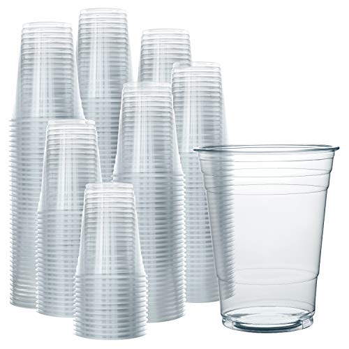 200 Clear Plastic Cups | 16 oz Plastic Cups | Clear Disposable Cups | PET Cups | Plastic Water Cups | Plastic Beer Cups | Clear Plastic Party Cups | Crystal Clear Cups