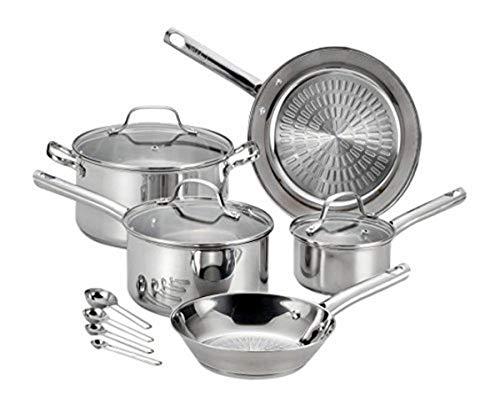 T-fal Pro E760SC Performa Stainless Steel Dishwasher Oven Safe Cookware Set, 12-Piece, Silver, 0