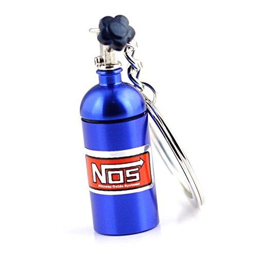 RUIIO Llavero con Forma de minibotella de óxido Nitroso con Cadena Creative Auto Parts, Azul, 6x1.5cm