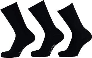 Juego de 6 pares de calcetines de algodón orgánico, color negro y azul oscuro, certificado Öko-Tex Standard 100, sin costuras