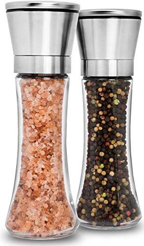 Premium Stainless Steel Salt and Pepper Grinder Set of 2 - Adjustable Ceramic Sea Salt Grinder & Pepper Grinder - Tall Glass Salt and Pepper Shakers - Pepper Mill & Salt Mill with Free Funnel & EBook