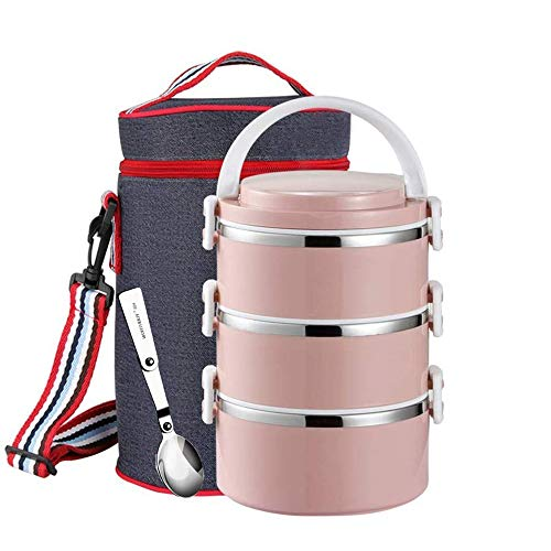Stainless Steel Thermal Lunch Bento Box 3 layer Leakproof Food Storage Containers with Insulated Lunch Bag for Adults, Men, Women (3-Tier,Pink)
