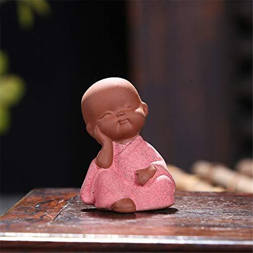 FFDGHB Niedliche Kleine Buddha Statue MöNch Statue Kleiner MöNch Blumentopf Dekoration Handwerk Desktop Tee Tablett Skulptur (2 StüCk) EinheitsgrößE