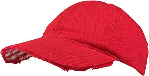 styleBREAKER Vintage Baseball Cap mit Karierter und gefütterter Unterseite, verstellbar, Unisex 04023048, Farbe:Rot/Rot-Weiß kariert