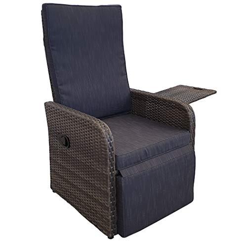 KMH®, Polyrattan Liegestuhl Jim inklusive Auflage und ausklappbarem Tisch (naturbraunes Polyrattan - anthrazitfarbene Auflage) (#106411)