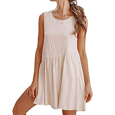 W-Fight Women Summer Sleeveless Mini Swing Tank Dress Sexy Backless Oblique High Waist Sundress with Pockets