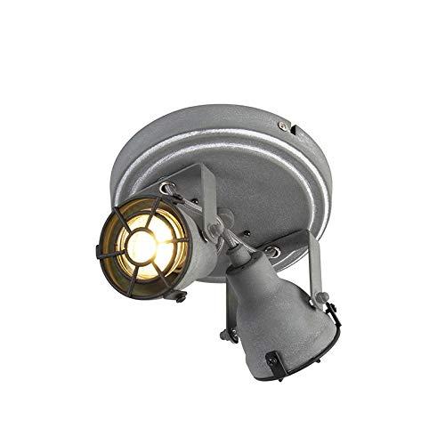 QAZQA Industrieel Stoere spot betonlook 2-lichts - Medox Metaal Rond Geschikt voor LED Max. 2 x 25 Watt