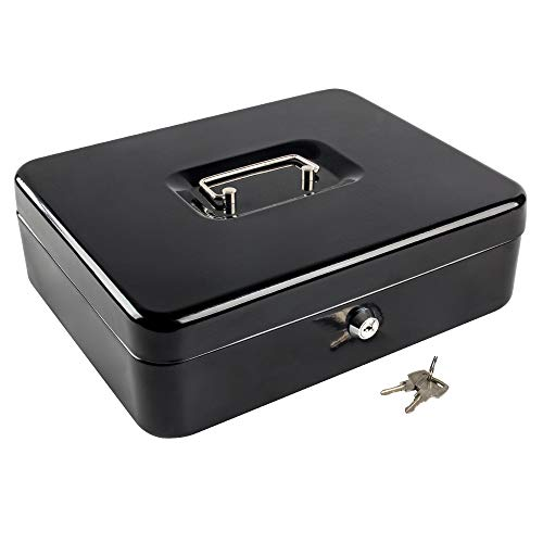 """KYODOLED Metal Cash Box with Money Tray and Lock,Money Box with Cash Tray,Cash Drawer,11.81""""x 9.45""""x 3.54"""" Black X Large"""