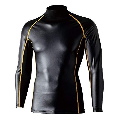 おたふく手袋 ボディータフネス 腕まで防風パワーストレッチ ハイネックシャツ ブラック×イエロー Mサイズ JW-191