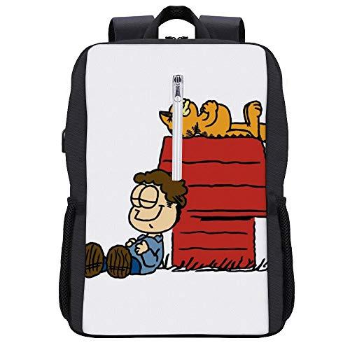 41QCFW4sAGL - Jon Brown Garfield Snoopy Peanuts Mochila para portátil con puerto de carga USB