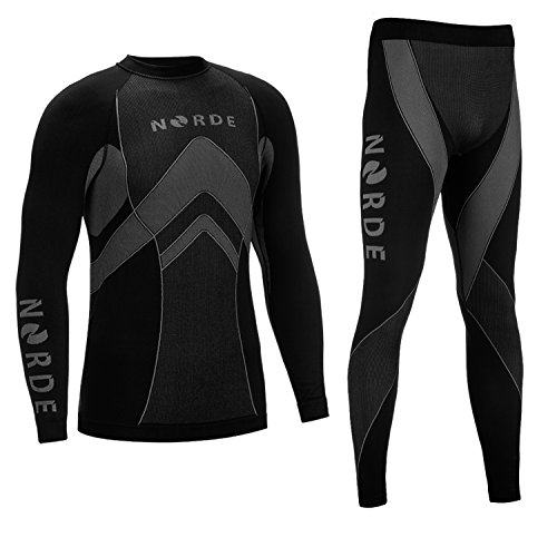 THERMOTECH NORDE Herren Funktionswäsche Thermoaktiv Atmungsaktiv Base Layer SET Outdoor Radsport Running (Schwarz/Grau, L)