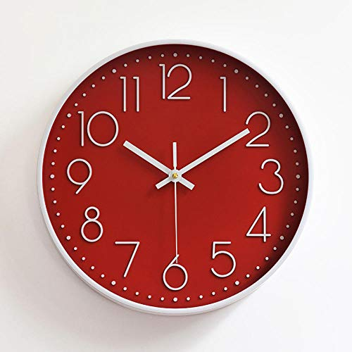 Fnho Oficina Estar Reloj de Pared Mute,Reloj de Pared silencioso diámetro maquinaria,Reloj de Pared Mudo, Reloj de Pared Digital estéreo (30 cm) -Rojo