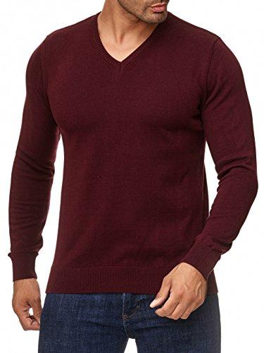 BARBONS Herren Pullover mit V-Ausschnitt - Slim-Fit - Hochwertige Baumwollmischung - Feinstrick-Pullover - Bordeaux XL