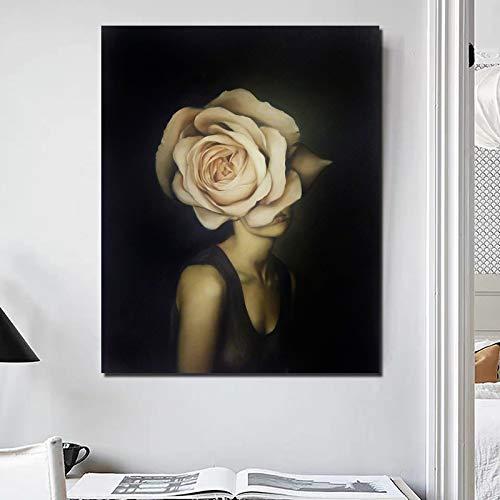KWzEQ Cartel nórdico Abstracto Florista Pintura Impresa en Lienzo decoración de la Sala de Estar Moderno hogar Arte de la Pared,Pintura sin Marco,50x60cm