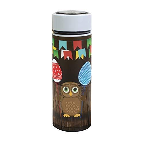 Emoya - Botella de agua con aislamiento al vacío, diseño de búhos con dibujos animados, para mantener los huevos de Pascua, fondo de madera, multicolor, de acero inoxidable, a prueba de fugas, para frío caliente, 500 ml