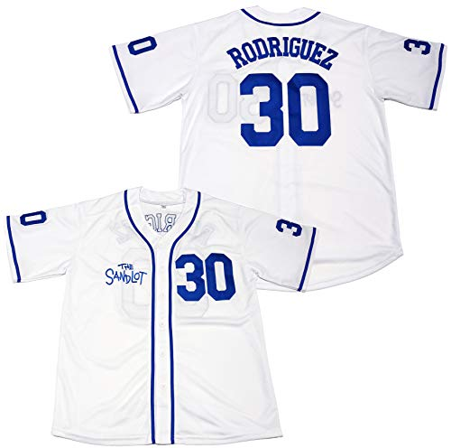 Kooy Benny The Jet Rodriguez #30 The Sandlot Movie Baseball Jersey Christmas Summer (Blue, Large)
