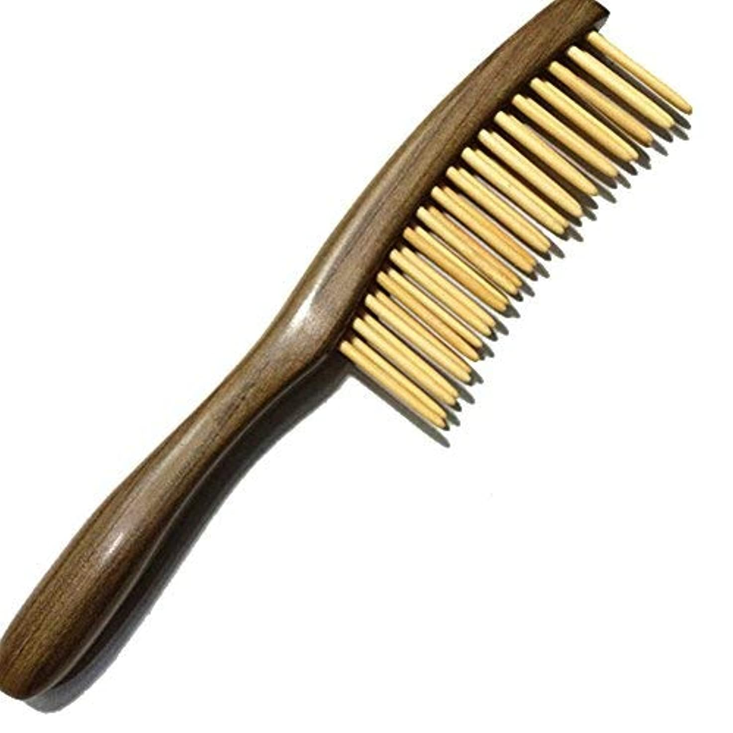 接触若い稼ぐFitlyiee Double Rows Teeth Sandalwood Hair Comb Anti-Static Handmade Wide Tooth Wooden Comb [並行輸入品]