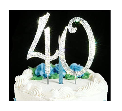 40 Cake Topper | Premium Bling Crystal Rhinestone Diamond Gems | 40th Birthday or Anniversary Party Decoration Ideas | Quality Metal Alloy | Perfect Keepsake …