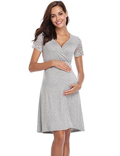 Aibrou Camisón Premamá Lactancia Encaje Algodón,Pijama Embarazoda Casual Ropa para Mujer y premamá