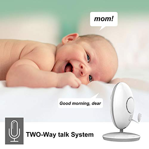 ANNEW Babyphone Baby Monitor mit Kamera Video Audio Temperatursensor Nachtsicht Wiegenlied Zwei-Wege-Gespräch (VB605-EU) - 2