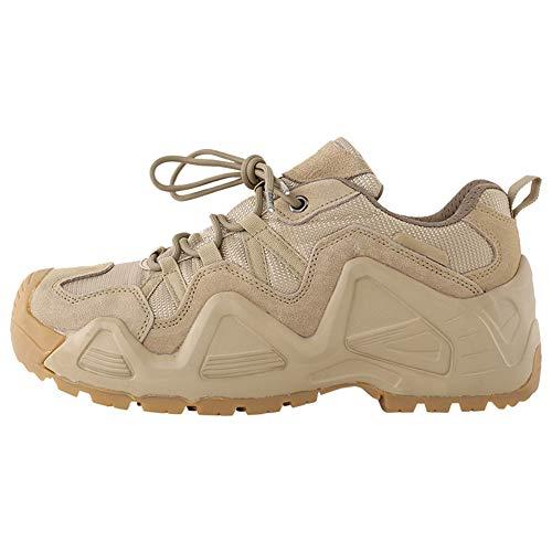 QETUOA Zapatos De Senderismo Impermeables Al Aire Libre para Hombres, Zapatos Deportivos Antideslizantes Resistentes Desgaste Transpirables Zapatos Tácticos Ciclismo (Caqui,39)