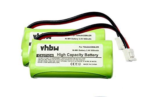 2 x vhbw Battery Set 800mAh for cordless landline phone Plantronics 7704901, 77049-01, Calisto ProTelstra V850a, Tesco ARC210