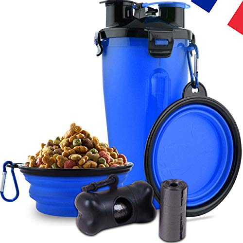 N/D Animava 2-in-1-Trinkflasche für Hunde und Katzen mit 2 faltbaren Schüsseln, Spender für Kotbeutel und 15 Taschen gratis !! Ideal für Spaziergänge und Reisen.