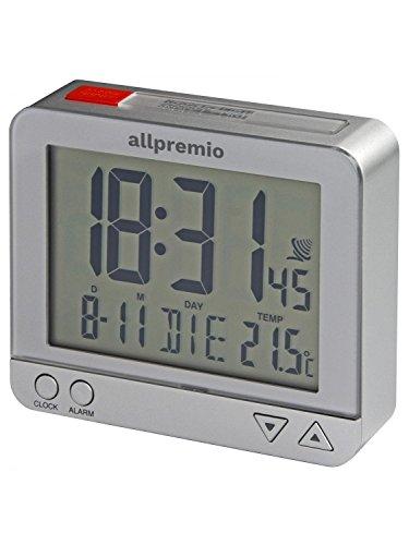 Funkwecker Digital – kompakter Funk Uhr Wecker mit Licht Schlummerfunktion Snooze Alarm Datum und Temperatur großes Display beleuchtet – Silber