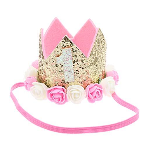 Minkissy Baby verjaardag kroon hoed bloem decor hoed haarband voor meisjes baby baby baby baby baby roze wit 1 jaar oud…