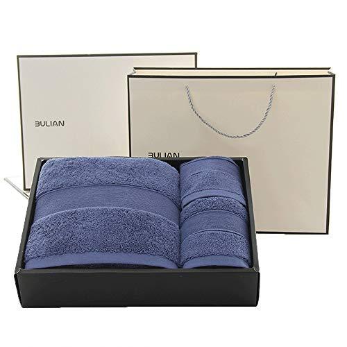 GJFeng High-End-Geschenk-Box Badetuch Quadrat Handtuch Und Handtuch Dreiteilige Multicolor 885g A-Klasse Gekämmte Baumwolle (Color : Blue)