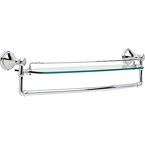 Delta Faucet 79711 Cassidy 24' Glass Shelf with Towel Rack, Polished Chrome