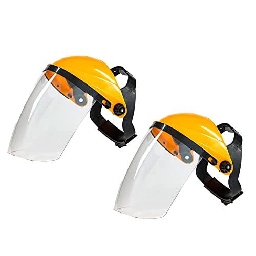 oshhni Casco protector facial completo Tocado ligero Visera ancha Casco de soldadura universal Protector facial reutilizable - amarillo top blanco