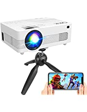 """[WiFi Projector] Q K K Upgraded 7200Lumens Projector, Enhanced Full HD 1080P Mini Projector, Max 200"""" Display Supported, Compatible with Smartphone/HDMI/AV/USB/TF/Sound Bar/TV Stick [Tripod Included]"""