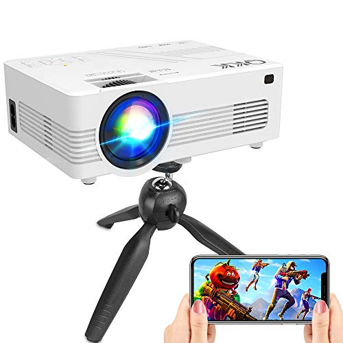 "[WiFi Projector] QKK Upgraded 5500Lumens Projector, Full HD 1080P Supported Mini Projector [Tripod Included], Max 200"" Display, Smartphone/HDMI/AV/USB/TF/Sound Bar/TV Stick Supported"