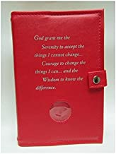 Deluxe Double Alcoholics Anonymous AA Big Book & 12 Steps & 12 Traditions Book Cover Medallion Holder Red