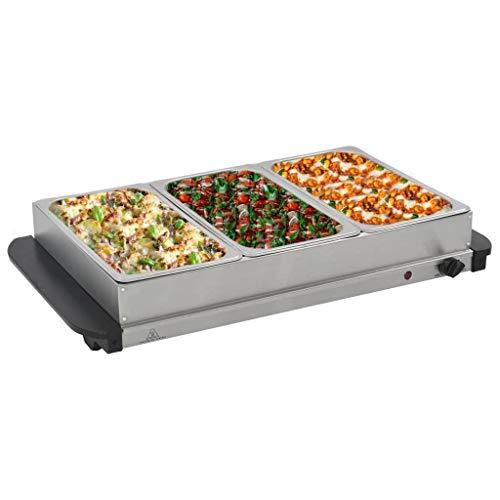 UBAYMAX Elektrisch Buffetwärmer Edelstahl, 3 x 2,5 L 300 W Speisenwärmer Buffet-Servierer, Warmhaltegerät, Speisewärmer, Warmhalteplatte, Warmhaltebehälter für Weihnachten, Hochzeiten, Party